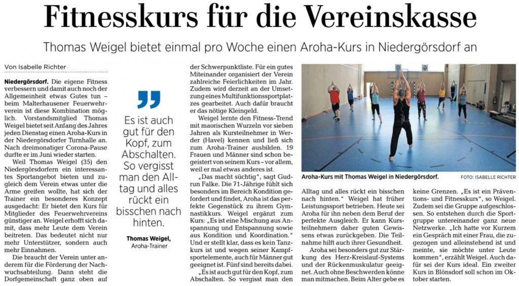 Zeitungsauschnitt MAZ, mit freundlicher Genehmigung der Autorin Isabelle Richter, Quelle: MAZ (Märkische Allgemeine Zeitung)